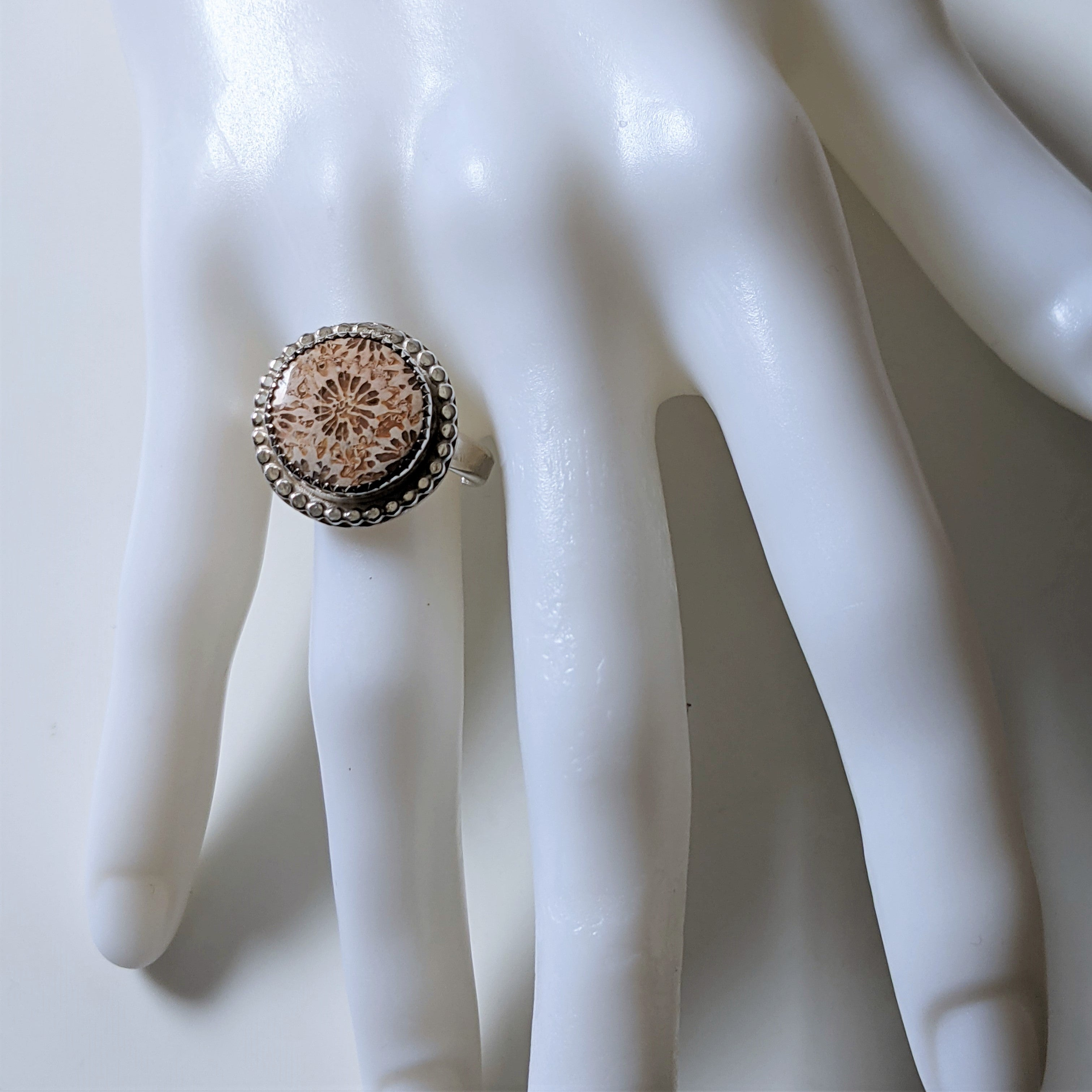 Fossil Coral Ring in Sterling Silver with Beaded Edge - Adjustable Ring in Neutral Colors