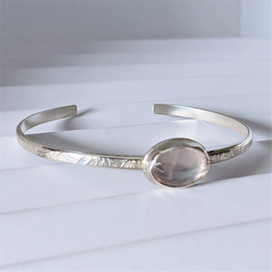 Embossed Sterling Silver Cuff Bracelet with Faceted Rose Quartz