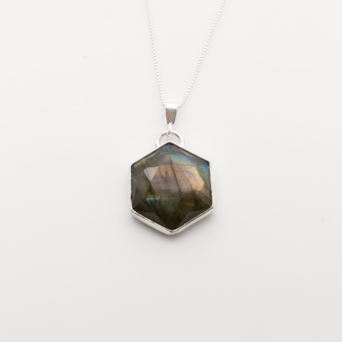 Rainbow Labradorite Hexagon Geometric Necklace in Sterling Silver