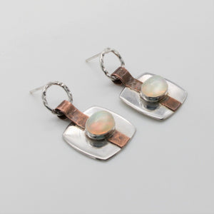 Copper Strap Earrings in Sterling Silver with Ethiopian Opal - Mixed Metal Contemporary Earrings