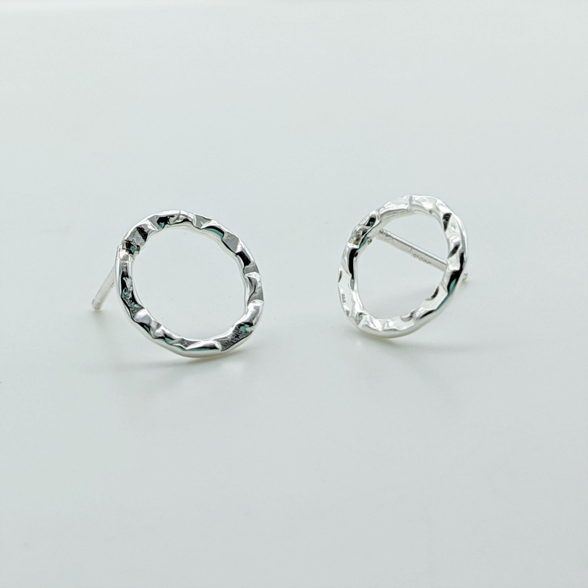Open Circle Stud Earrings in Sterling Silver - Hammered Round Post Earrings