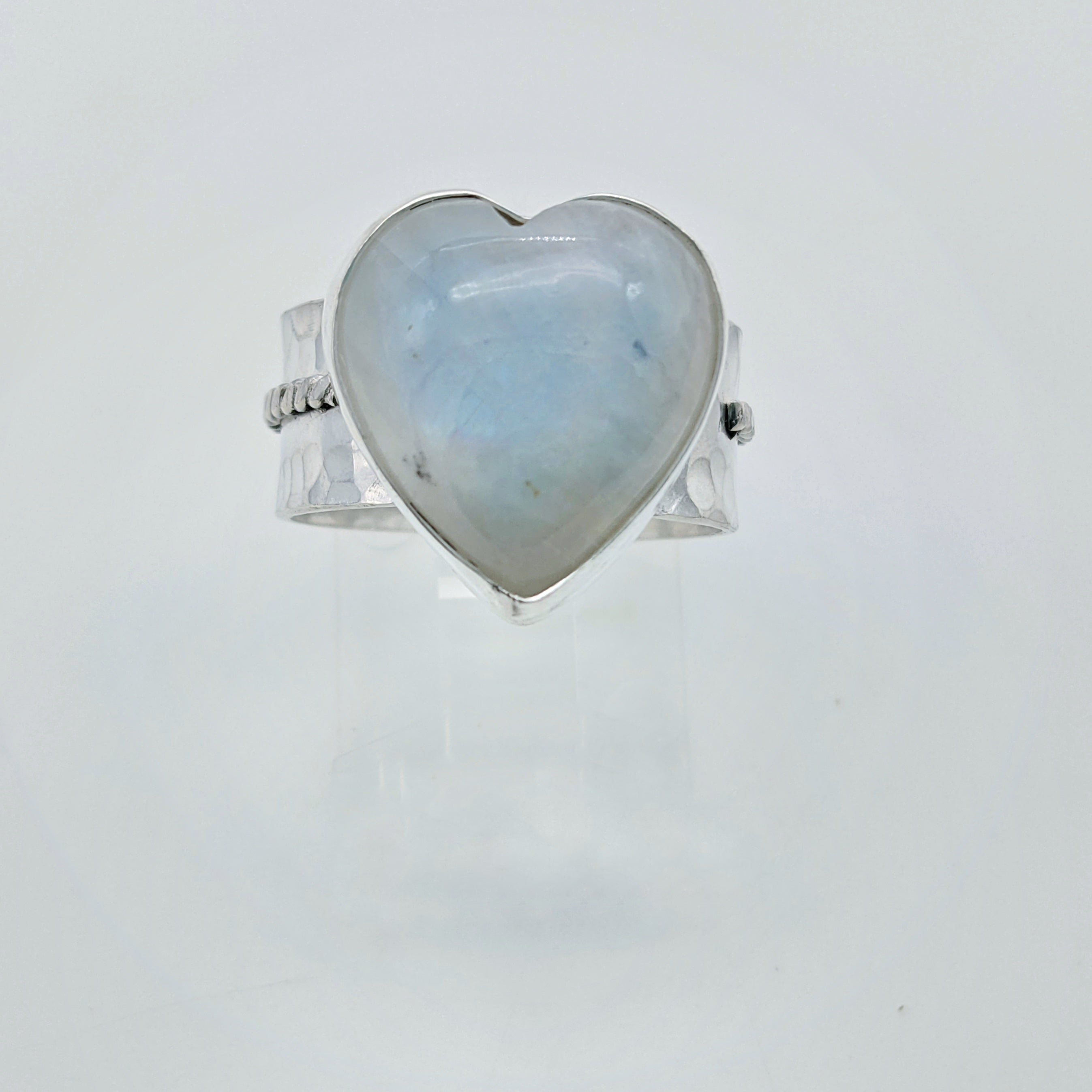 Moonstone Heart Ring in Sterling Silver - Wide Band Adjustable Gemstone Ring Sizes 6.5 to 8.5