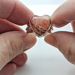 Rhodochrosite Gemstone Heart Ring in Sterling Silver - Wide Band Adjustable Gemstone Ring Sizes 6.5 to 8.5