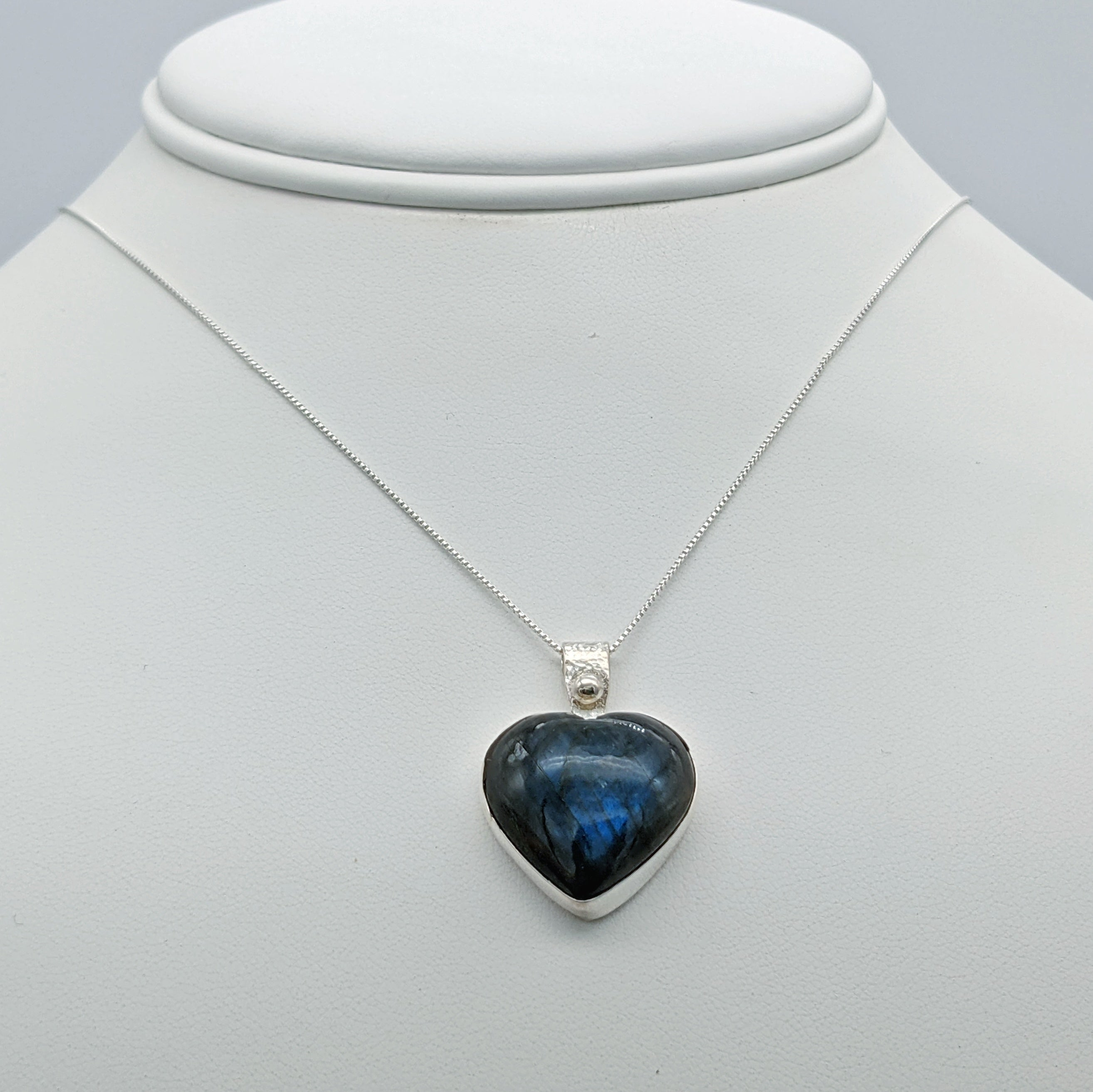 Blue Labradorite Heart Shaped Necklace in Sterling Silver - Flashy Blue Gemstone Pendant