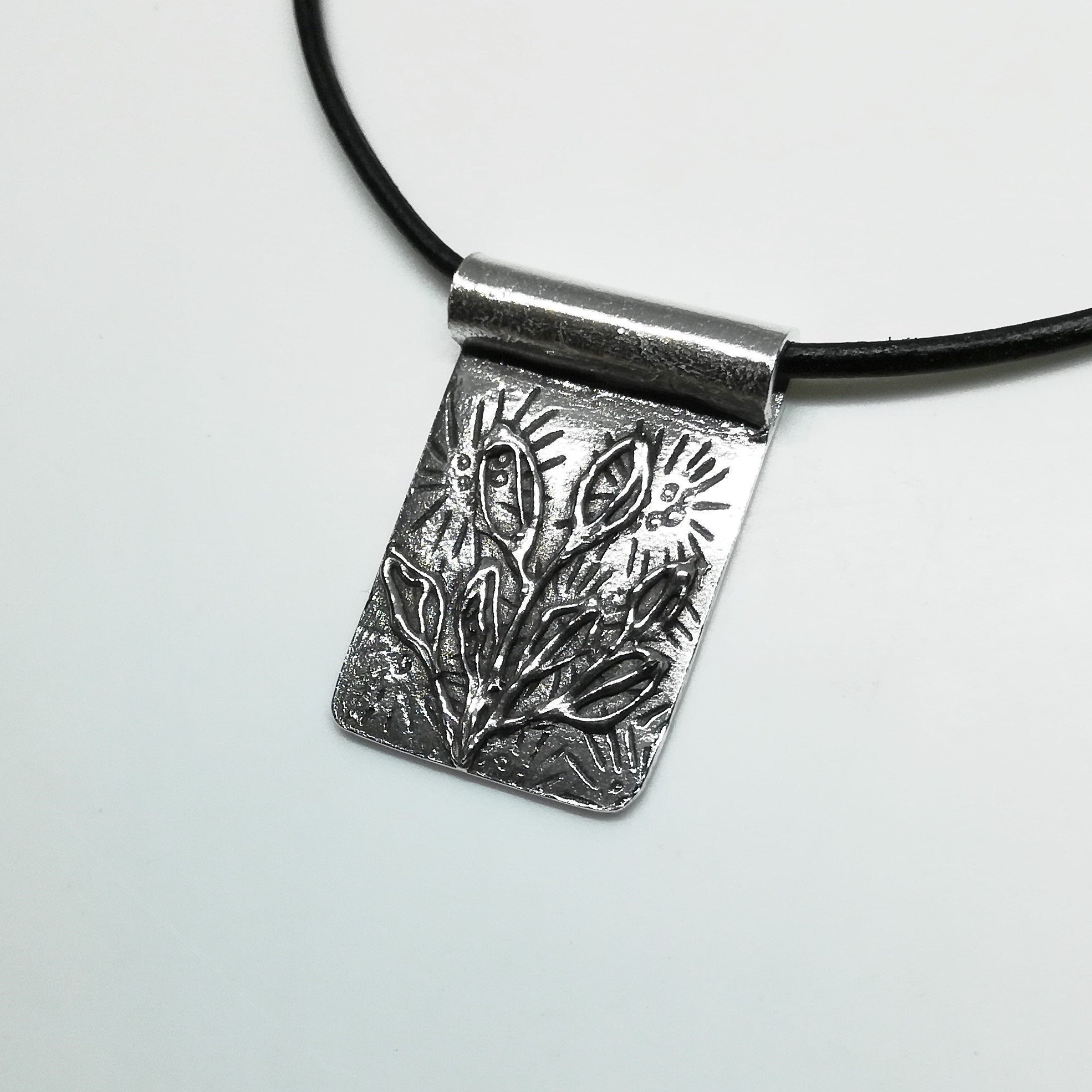 Botanical Abstract Pendant in Sterling Silver