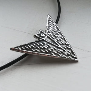 Futuristic Tribal Unisex Pendant in Sterling Silver with Leather Cord