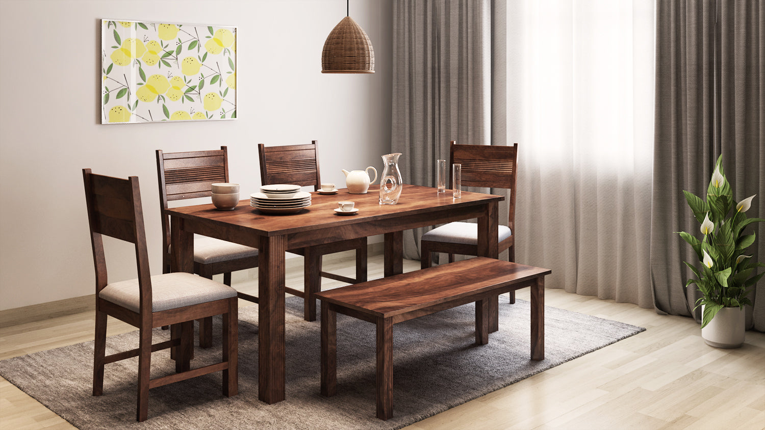 Buy 6 Seater Hove Dining Table With Chairs Bench In India Buy