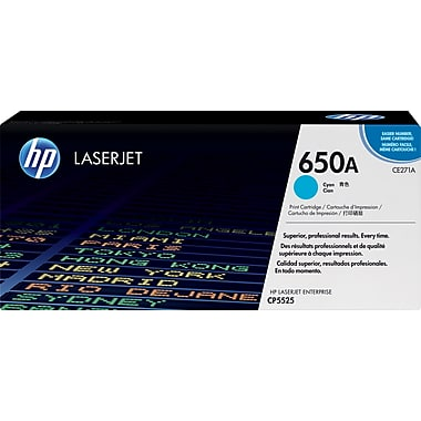 HP 650A (CE271A) Color LaserJet CP5525 M750 Cyan Original LaserJet Toner Cartridge (15000 Yield)