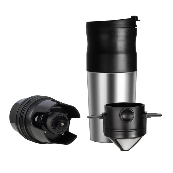 Portable Coffee Grinder & Brewer Mug | USB Rechargeable Insulated Stainless Steel Travel Cup | Ceramic Burr Bean Grinder, Pour Over Coffee Maker, On The Go Lid & Spout