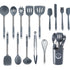 15-Piece Silicone & Stainless Steel Kitchen Utensil Set with Holder, Spatula, Ladle, Pasta Server, Tongs, Whisk & More