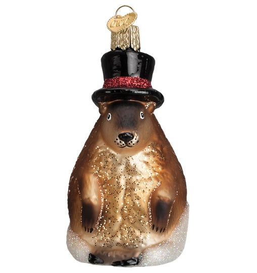 Glass Groundhog Ornament