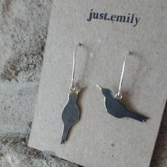 custom blackbird bird earrings bird lover gift jewellery