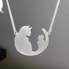 customised cat necklace sterling silver jewellery commission