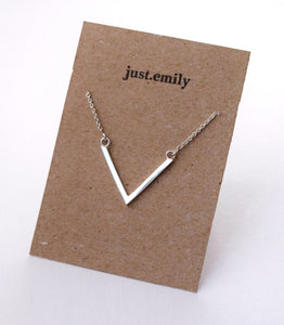 geometric sterling silver chevron style necklace