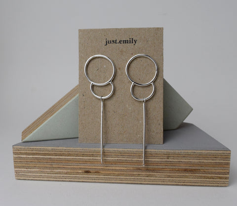 Scottish made in Scotland long dangly earrings drop earrings lotus style silver sterling silver earrings stud earrings circular dangly drop earrings