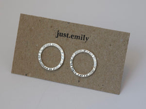 handmade sterling silver circle shaped textured stud earrings
