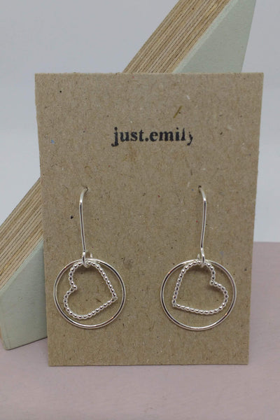 circle and love heart shaped drop earrings in sterling silver