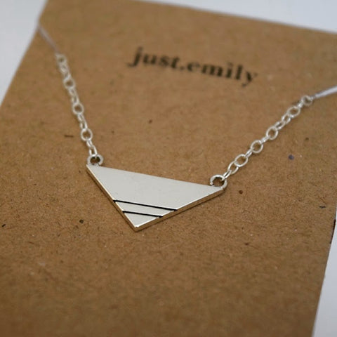 Scottish handmade in Scotland Christmas gift geometric necklace geometric triangle triangular necklace sterling silver linear line detail stripe