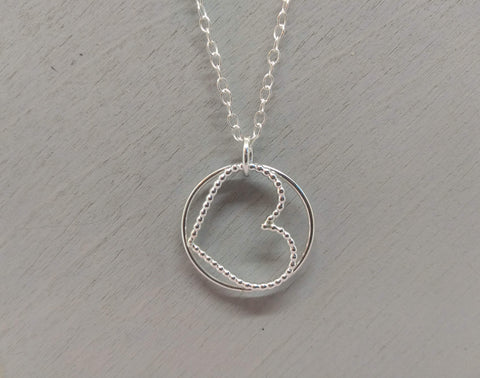 sterling silver circle and love heart shaped necklace