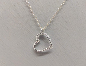two love hearts hand made sterling silver necklace
