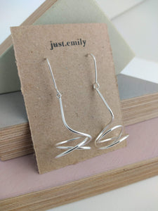 handmade whisk design sterling silver organic shaped drop earrings