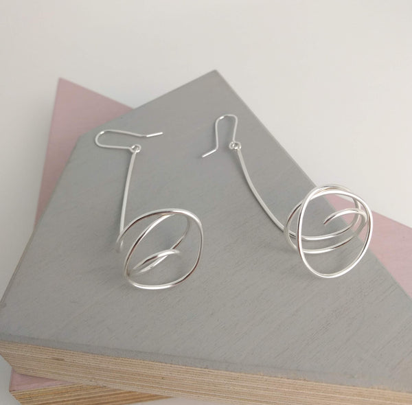 hook earrings with sterling silver wire drop design