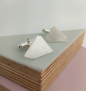 asymmetric geometric designed cufflinks handmade in sterling silver