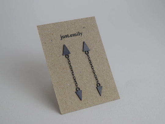 dangly triangle drop earrings in oxidised sterling silver with chain detail and two small triangles