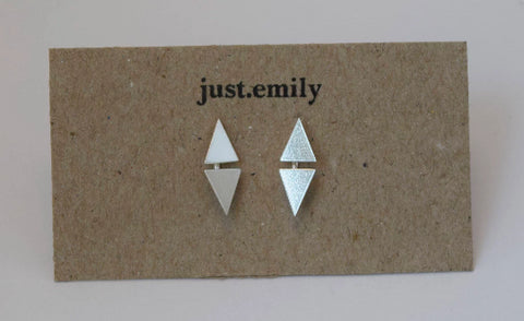 double reflection triangular stud earrings in sterling silver