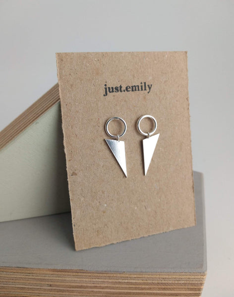 large circle triangle dangly dangle drop earrings in sterling silver in geometric style