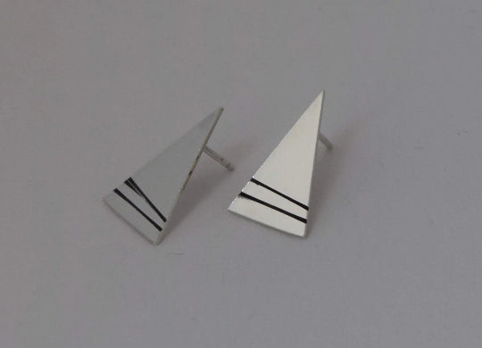 Scottish mountain jewellery handmade in Scotland earrings triangle mountain stud earrings sterling silver stud earrings silver earrings mountain inspired geometric earrings linear detail