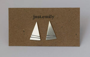 Scottish mountain jewellery earrings made in Scotland stud earrings triangle mountain stud earrings sterling silver stud earrings silver earrings mountain inspired geometric earrings linear detail