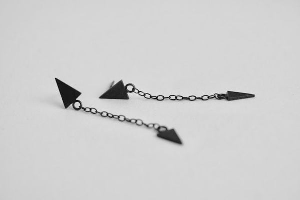 double triangle design black earrings in sterling silver