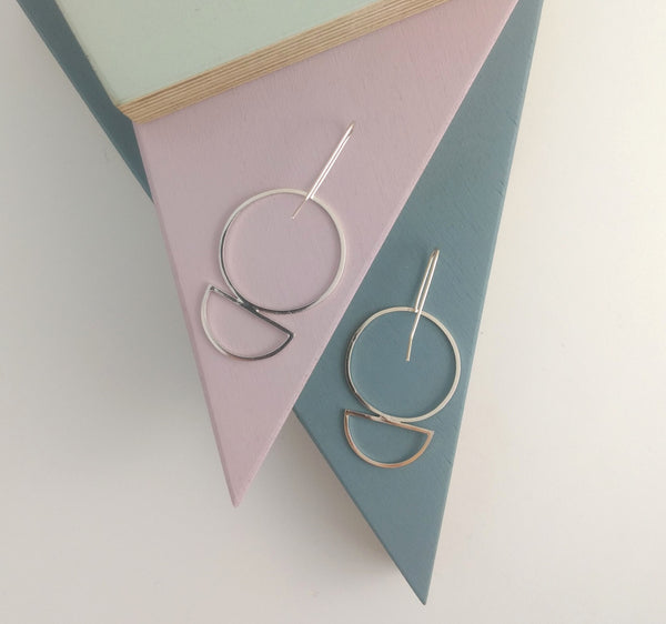 semi circle and circle shape large silver earrings