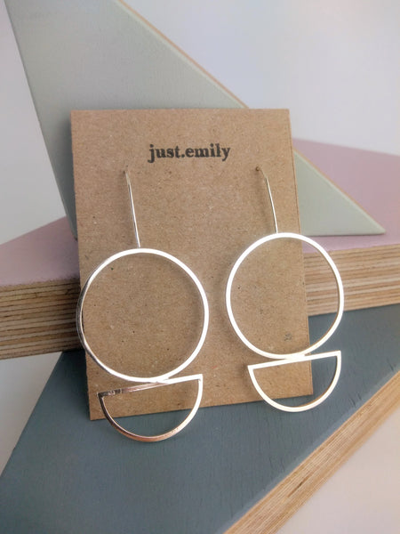 circle and semi circle statement earrings