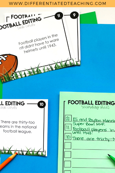 Super Bowl Editing Task Cards - Football Task Cards
