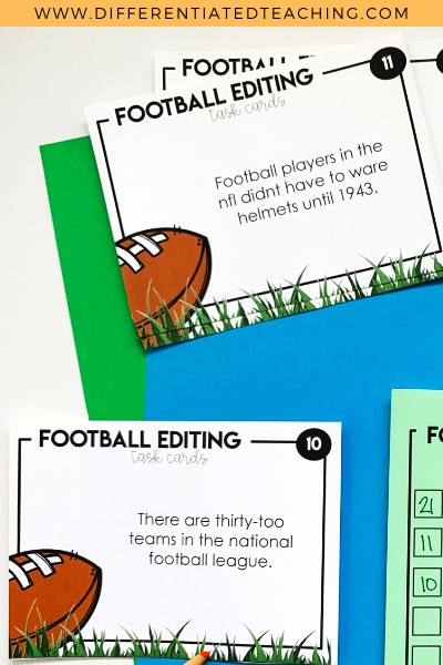Football Writing Task Cards - Editing Practice