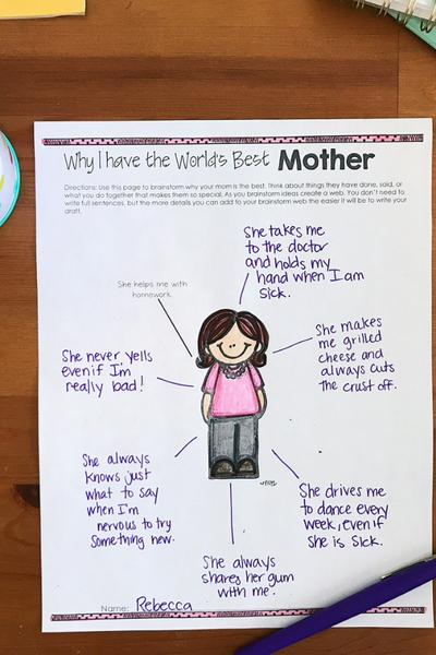 Mother's Day Writing Craft activity for Kids
