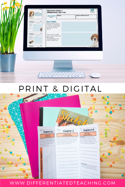Shiloh Novel Study Unit: Print + Digital Bundle - Differentiated Teaching with Rebecca Davies