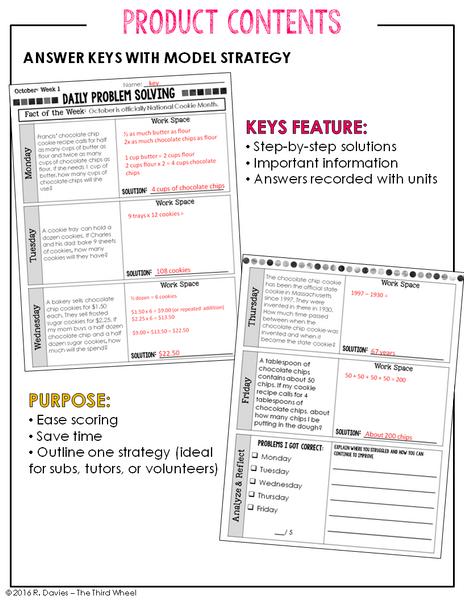 Daily Problem Solving for 3rd Grade - Yearlong Printable Word Problem Practice (Nearly 300 word problems in all!)