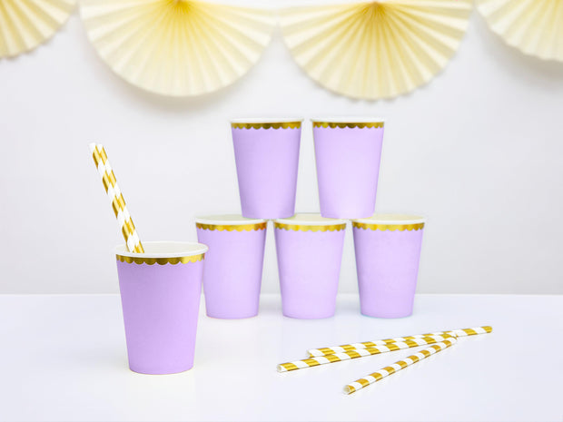 Lilac & Gold Scallop Edge Paper Cups - Pack of 6 - Pretty Pastels