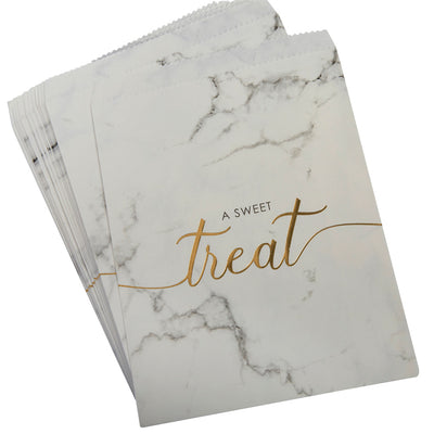 Marble & Gold Treat Bags - Pack of 25 - Scripted Marble