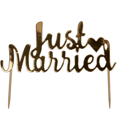 Gold 'Just Married' Cake Topper - Scripted Marble