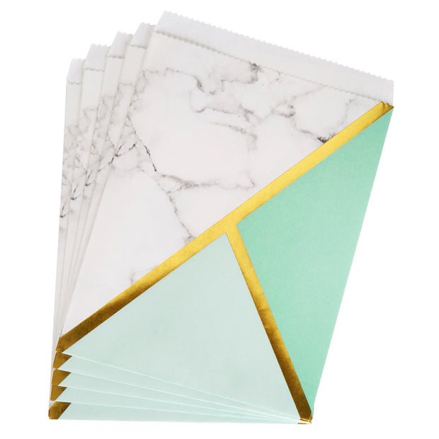 Mint, Gold & Marble Treat Bags - Pack of 25 - Colour Block Mint