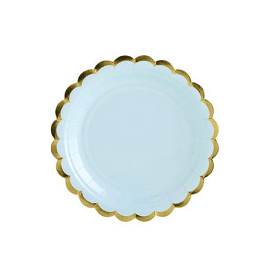 Blue & Gold Scallop Edge Small Paper Plates - Pack of 6 - Pretty Pastels
