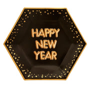Black & Gold Large 'Happy New Year' Paper Plates - Pack of 8 - Glitz & Glam Black & Gold