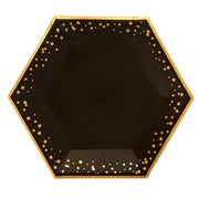 Black & Gold Stars Large Paper Plates - Pack of 8 - Glitz & Glam Black & Gold