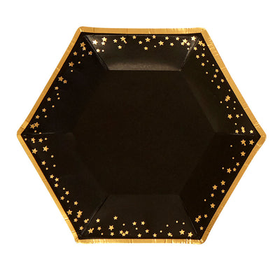 Black & Gold Stars Small Paper Plates - Pack of 8 - Glitz & Glam Black & Gold