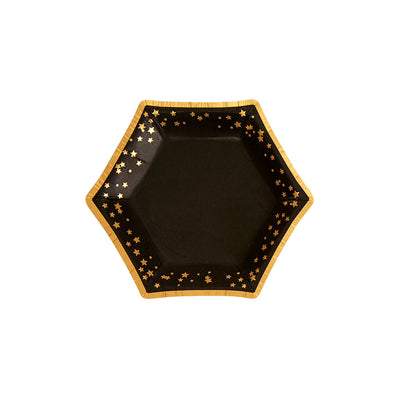 Black & Gold Canapé Paper Plates - Pack of 8 - Glitz & Glam Black & Gold