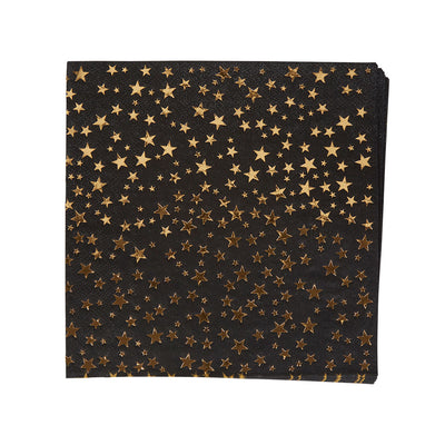 Black & Gold Star Paper Napkins - Pack of 16 - Glitz & Glam Black & Gold